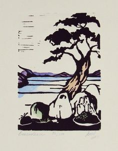 bonsai linoleum cut print, Japanese connection? Landscape?