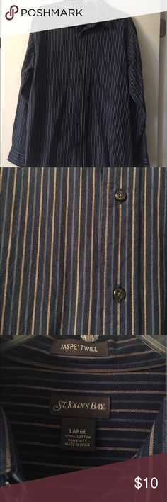 St. John's Bay Button Down Shirt St. John's Bay button down shirt is in great condition! Colors are shades of blue and tan vertical stripes. One pocket. Jaspe twill. 100% cotton. St. John's Bay Shirts Dress Shirts