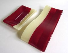 Fused Glass Spoon Rest in Deep Red and French by bprdesigns