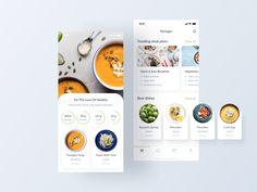 Vegan Food / Mobile App by Lyubimov Alex for maincode. on Dribbble App Ui Design, Mobile App Design, Interface Design, Dashboard Design, Design Web, User Interface, Graphic Design, Fashion Website Design, Presentation Design Template