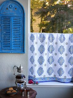 White Blue Curtain, Kitchen Curtains, Vintage Curtain, Sheer Cotton Curtain  Panel