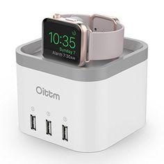 Oittm 3 en 1 Nightstand Station de Recharge pour Apple Watch et 3 ports Usb Chargeur Station de Charge pour iWatch Support avec Multi-ports…