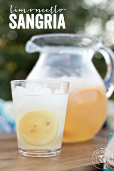 Limoncello Sangria - a delicious blend of limoncello and white wine bottle World Market Limoncellino Soda 1 bottle white table wine ½ bottle World Market Sicilian Lemon Sparkling Water ⅓ cup simple syrup Orange and lemon slices for garnish Sangria Recipes, Cocktail Recipes, Drink Recipes, Margarita Recipes, Punch Recipes, Summer Cocktails, Cocktail Drinks, Sangria Bar, Party Drinks