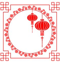 Chinese paper cutting motif chinese lantern vector on VectorStock®