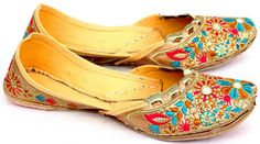 Tan Jootis with Embroidery and Sequins