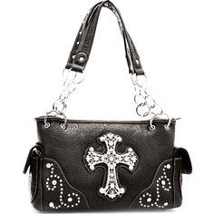 Purses Cross Black Embossed Shoulder Bag Rhinestone-black cross purses, black cross purse, black purses, designer purses