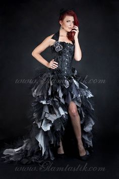 dd865fe90e Custom Size Black and gray High Low tulle Burlesque Corset zombie  detachable Dress short in the front long train in the back Small-XL