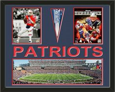 Two framed 8 x 10 inch New England Patriots photos of Tom Brady  with a New England Patriots mini pennant and small stadium panoramic, double matted in team colors to 28 x 22 inches.  PATRIOTS* is cut into the top mat and shows the bottom mat color.  (Pennant design subject to change)  $159.99 @ ArtandMore.com