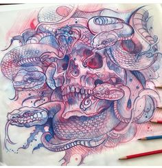 Idea for painting or tattoo, Tattoo Sketches, Tattoo Drawings, Art Sketches, Art Drawings, Skull Tattoos, Body Art Tattoos, Ankle Tattoos, Tatoo Books, Tattoo Caveira