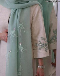 Embroidery On Clothes, Embroidery Fashion, Embroidery Dress, Fancy Dress Design, Iranian Women Fashion, Abaya Designs, Embroidery Suits Design, Pakistani Dress Design, Abaya Fashion