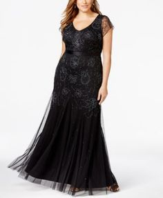 8a5faae5588 Adrianna Papell Plus Size Beaded Cap-Sleeve Gown Women - Dresses - Macy s