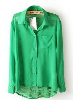 Green Three-Quarter/Long Sleeve Top
