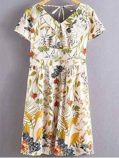 Floral Print Flat Collar Short Sleeve Back Crossed Dress - WHITE L