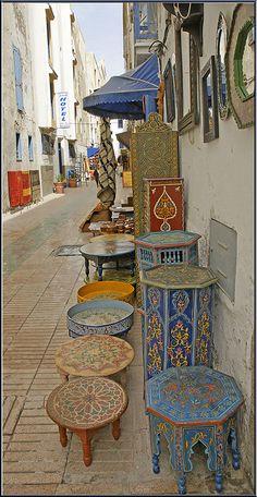 Beautiful handmade Moroccan tables, Essaouira. Morocco