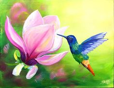 Hummingbird And Magnolia Acrylic Painting Tutorial Step By Step Live Streaming Canvas Painting Projects, Bird Painting Acrylic, Hummingbird Painting, Easy Canvas Painting, Acrylic Painting For Beginners, Acrylic Painting Tutorials, Diy Canvas Art, Acrylic Paintings, Watercolor Paintings