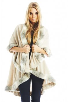 eb16650b82c Shop Ax Paris Womens Beige Fur Trim Layer Poncho Ladies Stylish Fashion  Clothing - size One Size.