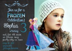 Frozen birthday invitation Disney's Frozen Disney Princess Princess Anna Elsa invite Chalk Girl Chalkboard Card party decor Printable