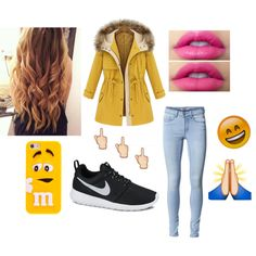 Emojis // Yellows by missnashty on Polyvore featuring mode, ONLY and NIKE