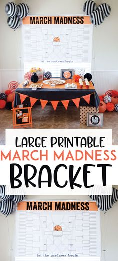 March Madness Bracket Printable LARGE March Madness Bracket Printable by Lindi Haws of Love The Day partyLARGE March Madness Bracket Printable by Lindi Haws of Love The Day party Basketball Party Decorations & Invitations full Printable Basketball Party, Basketball Birthday, Basketball Cakes, Sports Party, Basketball Decorations, Office Decorations, Girls Basketball, College Basketball, March Madness Teams