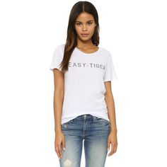 Zoe Karssen Easy Tiger Tee ($75) ❤ liked on Polyvore featuring tops, t-shirts, optical white, jersey tee, white short sleeve top, jersey top, jersey t shirts and short sleeve tops