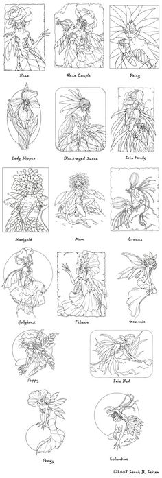 Flower Fairie Coloring Page MisticUnicorn