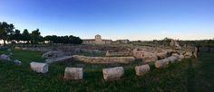 Basilicata, Italia  | Venosa, parco archeologico | Parco Archeologico di Venosa coi resti delle terme romane e sullo sfondo il complesso della Santissima Trinità e l'Incompiuta;