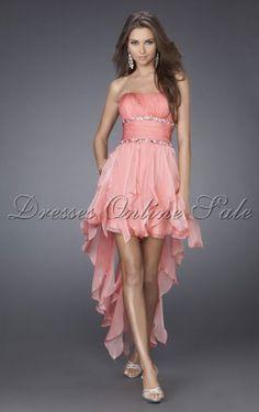 Move your mouse over image or click to enlarge  Fancy Sheath Asymmetrical Strapless Pink Chiffon Dress