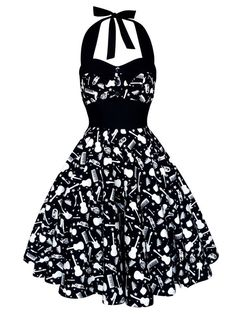 Concert Music Dress Rockabilly Dress Guitar Vintage Pin Up Dress 50s Retro Dress Gothic Lolita Steampunk Swing Prom Party Plus Size Clothing