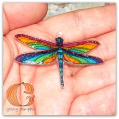 Sparkly Groovy Dragonfly Necklace - Wearable Art, Shrink Plastic by GroovyPumpkin on Etsy