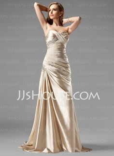 Dresses - $142.99 - Sheath Sweetheart Sweep Train Charmeuse Prom Dresses With Ruffle  Beading (018004806) http://jjshouse.com/Sheath-Sweetheart-Sweep-Train-Charmeuse-Prom-Dresses-With-Ruffle--Beading-018004806-g4806