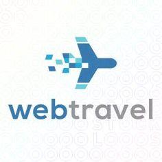 Pixel Plane Logo Design For Sale On StockLogos | Web Travel logo