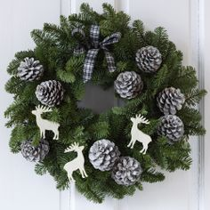 Nordic Spruce Door Wreath with white Pine Cones and ribbons