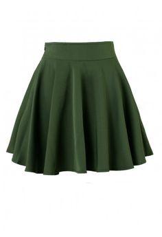 Darkgreen Skater Skirt - Retro, Indie and Unique Fashion