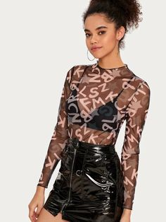 Shop Mock-Neck Letter Graphic Mesh Top Without Bra at ROMWE, discover more fashion styles online. New Years Outfit, Fancy Tops, Types Of Fashion Styles, Mock Neck, Romwe, Archive, Outfit Ideas, Mesh, Candy