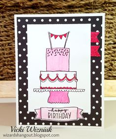 CTMH Celebrate with Cake (May SOTM) birthday card with La Vie En Rose paper. by Vicki Wizniuk