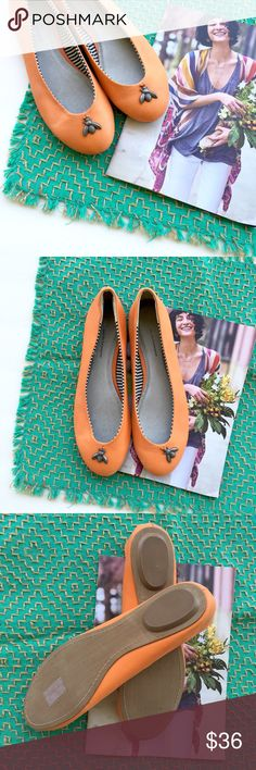 Anthropologie Pilcro Leather Trinket Flats Adorable leather flats by Pilcro & The Letterpress. Vibrant orange with metal bees, just because. Excellent, unworn condition with classic Anthro charm. Please note, the branded imprinting on the inside is slightly worn on the left shoe & there are slightly dirty spots on the back heels from being tried on in store. Both minor imperfections are pictured. Retail :: $98  • size :: 9M  • yes to bundles - just ask! Anthropologie Shoes Flats & Loafers