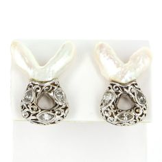 Vintage Maxim Handmade 18 Karat Yellow White Gold Baroque Pearl Diamond Cocktail Clip Earrings Estate Jewelry