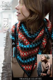 """Needlecrafts - Knit, Crochet - Triangle Scarves                    Images 
