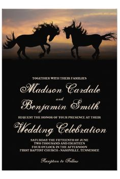 Two Horses Prancing at Sunset Country Western Wedding Invitations for an equestrian themed wedding or country western wedding.  40% OFF when you order 100+ Invites.  #wedding #horses #western