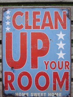 LAFINESSE VINTAGE SCHILD  CLEAN UP YOUR ROOM  NOSTALGIE METALLSCHILD SHABBY NEU