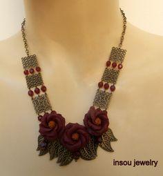 Dark red  Flower bib necklace  Anemone  Handmade by insoujewelry