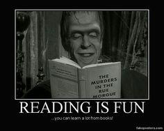 Frankenstein monster reading