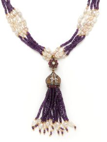 Amethyst, Freshwater Pearl, & Turquoise Multi Strand Tassel Pendant Necklace by Grand Bazaar - New York at Gilt