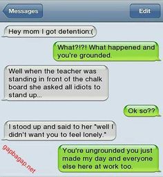 Hilarious Text Message About Idiot vs Detention #ad