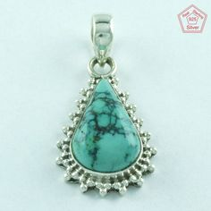 Exclusive Design _ 925 Real Sterling Silver Turquoise Pendant Jewelry P3330…