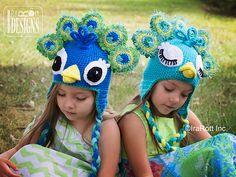 Ravelry: Pavo the Peacock Hat PDF Crochet Pattern by IraRott pattern by Ira Rott Crochet Cap, Crochet Baby Hats, Crochet Beanie, Crochet For Kids, Baby Knitting, Knitted Hats, Free Crochet, Half Double Crochet, Single Crochet