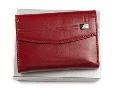 Mały damski portfel ze skóry naturalnej czerwony z wyjmowanym etui na karty