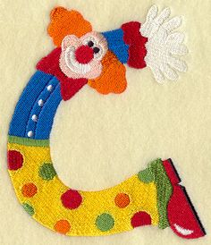 Clown embroidered typography