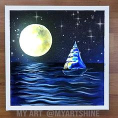 """Credit """"my art"""" Canvas Painting Projects, Diy Canvas Art, Acrylic Painting Canvas, Shark Painting, Moon Painting, Moonlight Painting, Oil Pastel Art, Art Painting Gallery, Cool Art Drawings"""