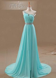 Graceful A-Line One-Shoulder Beading Ruched Court Train Floor-Length Evening Dress